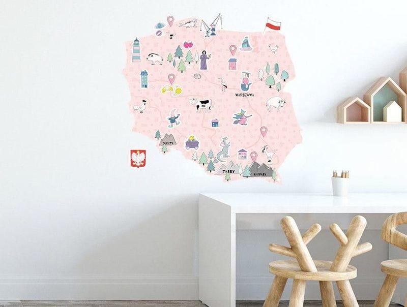 naklejka   mapa polski - różowa Pastelowe Love