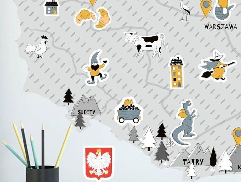 naklejka | mapa polski - szara Pastelowe Love