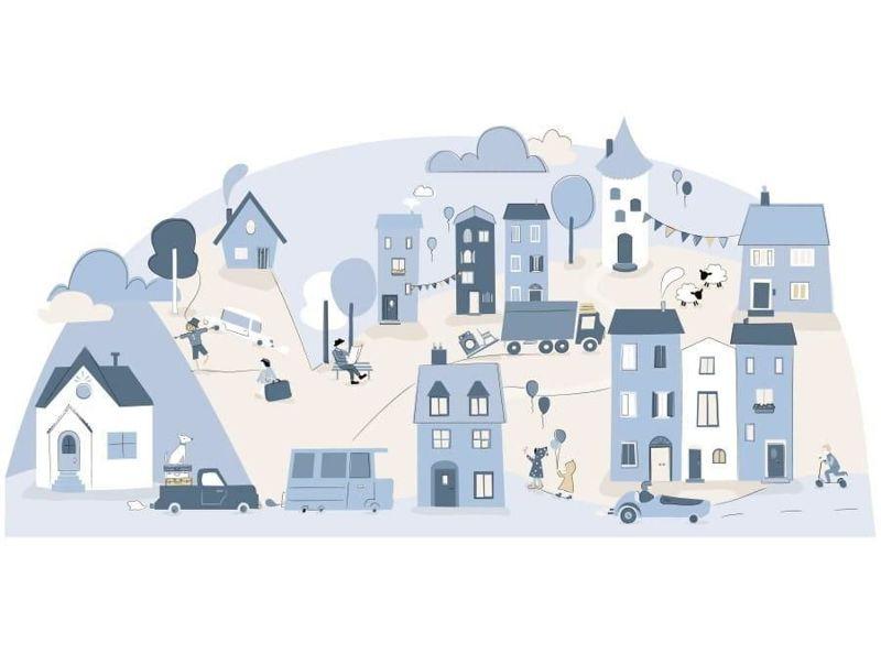 naklejka   miasteczko błękitne Pastelowe Love