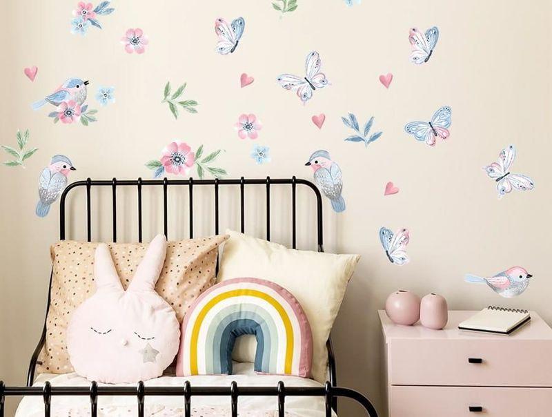 naklejki | ptaszki różowe Pastelowe Love